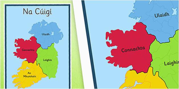 irish provinces display poster gaeilge