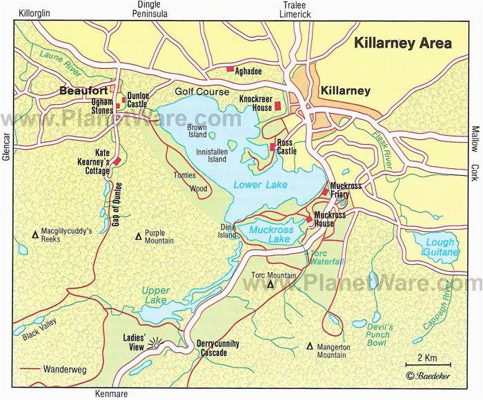 killarney area map tourist attractions ireland mo chroa