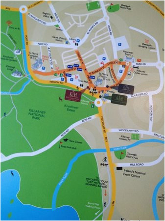 map showing central location picture of killarney towers