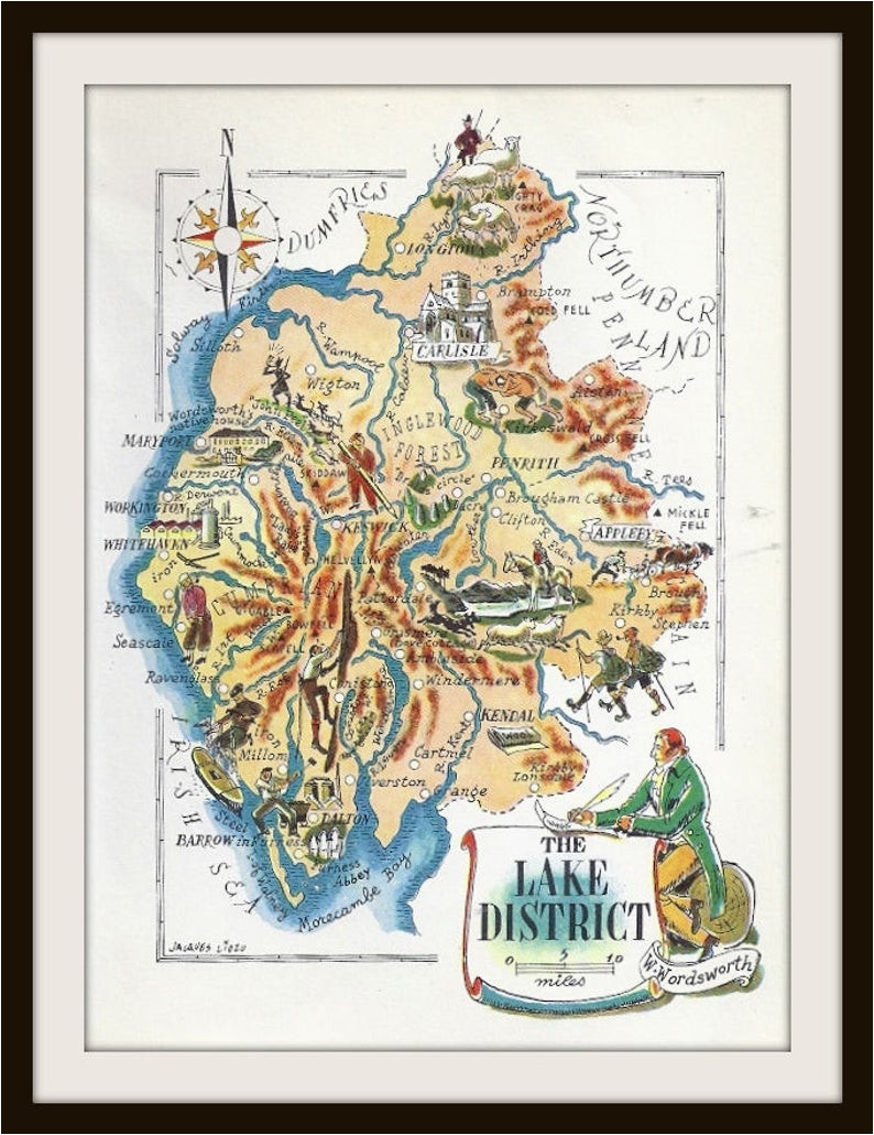 england map jacques liozu 1956 lake district wordsworth great britain united kingdom frameable wall art history geography teacher
