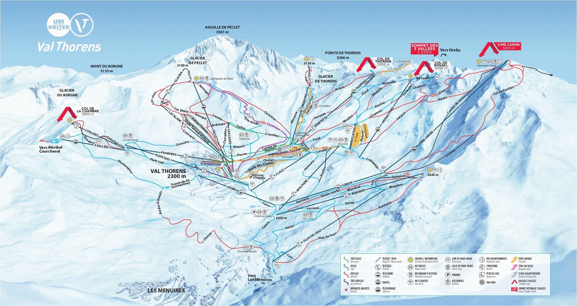 Map Of Meribel France Val Thorens Piste Map 2019 Ski Europe Winter Ski