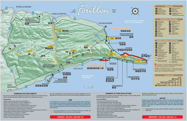 forillon national park map gaspeacute canada mappery