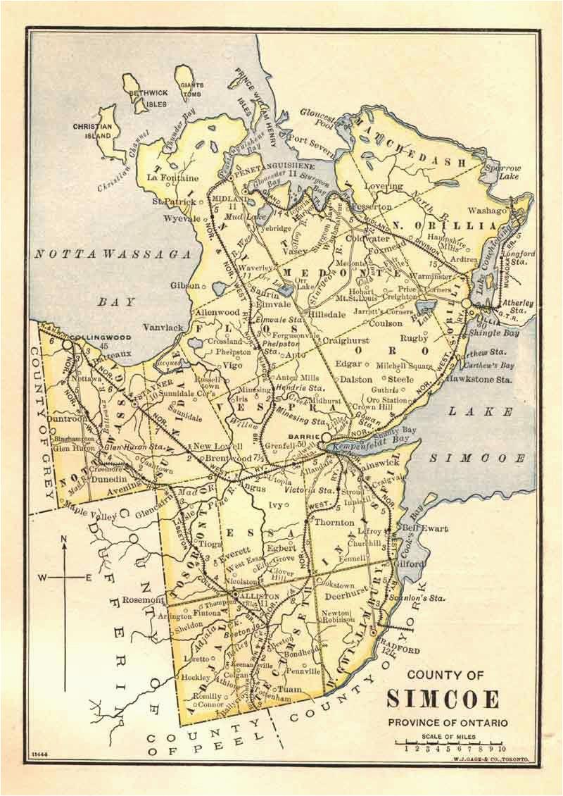 simcoe county township map 1885 genealogy maps map