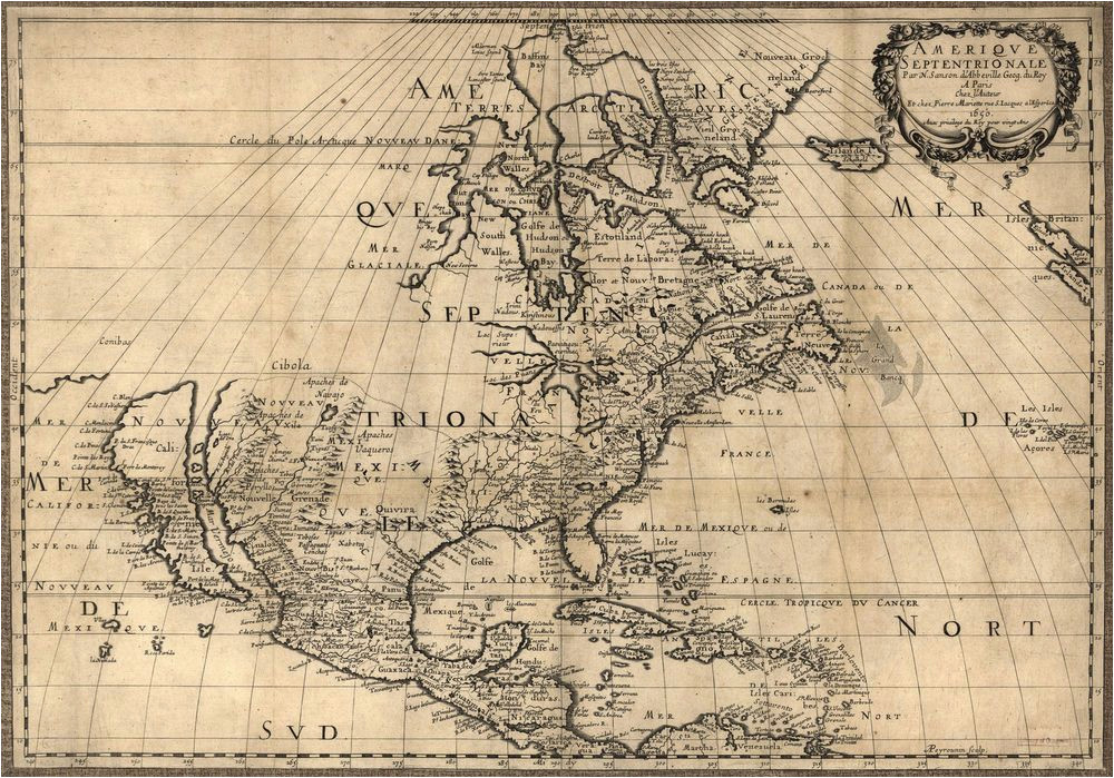 1650 map united states canada mexico antique north