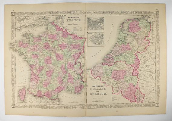 Map Of northwest France original Antique France Map Holland Map Belgium Netherlands Map