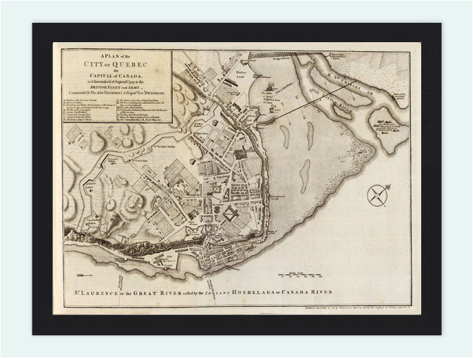 old map of quebec city and fortifications canada 1759