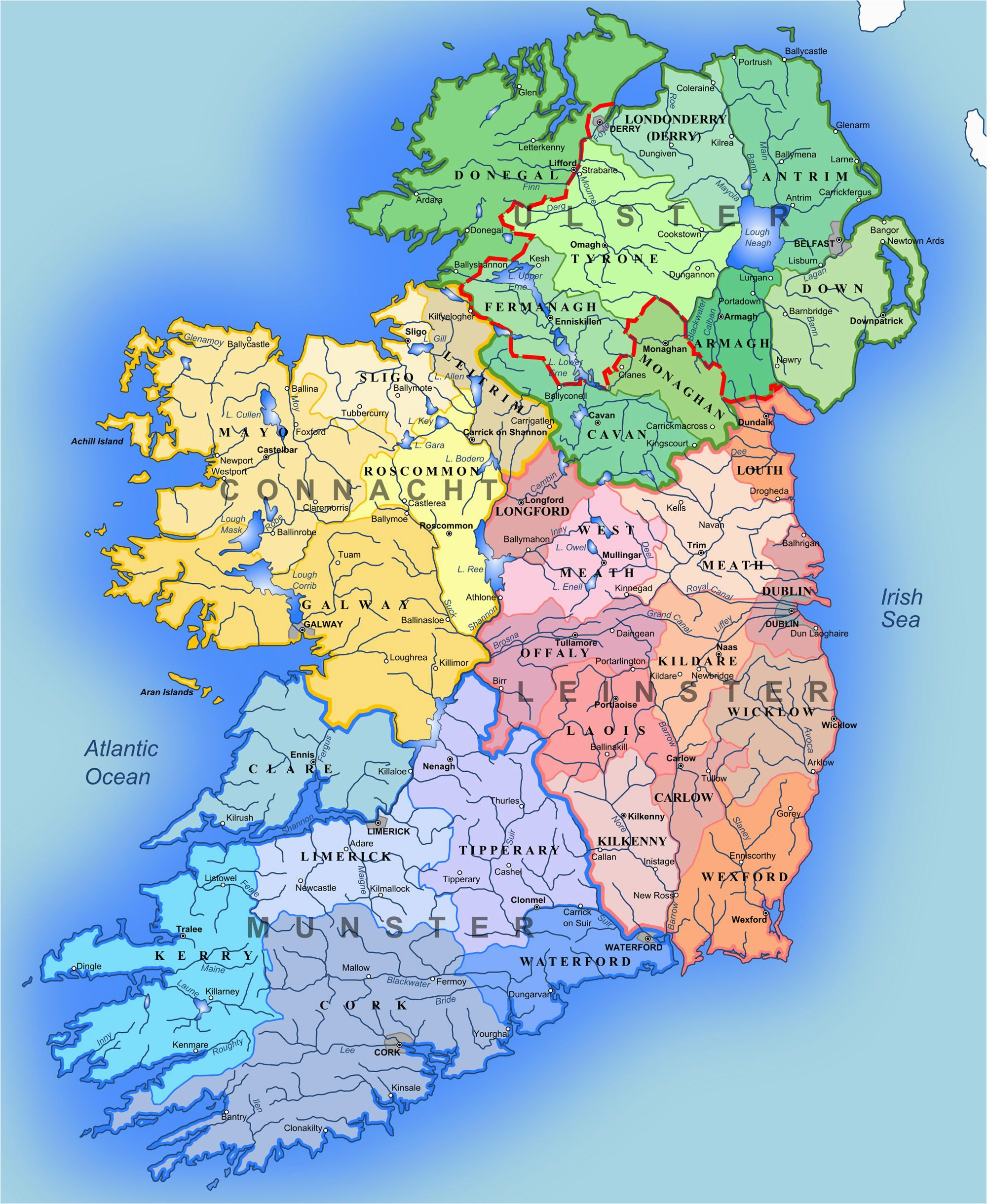 detailed large map of ireland administrative map of ireland