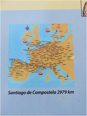 map of the pilgrimage routes all leading to santiago spain