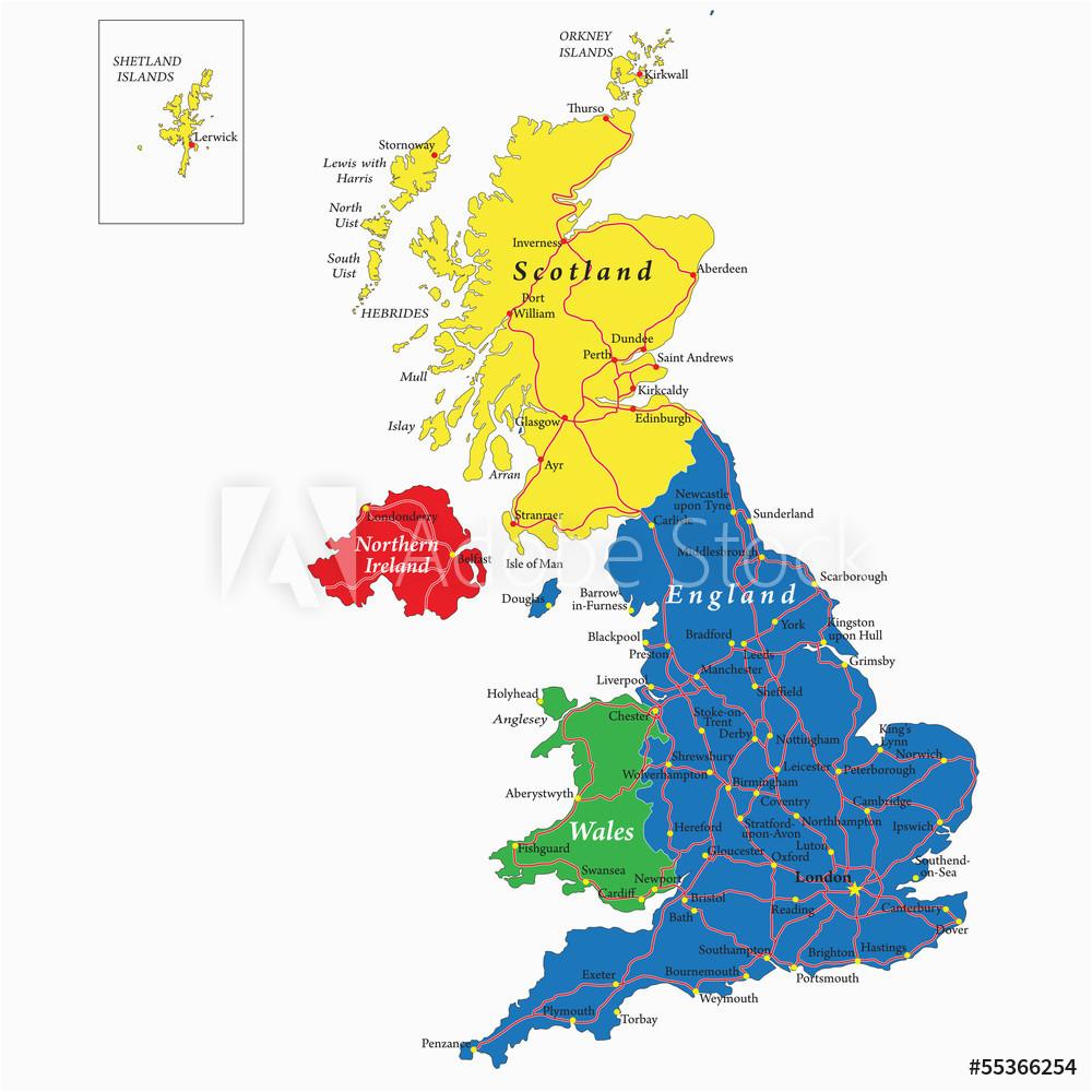 fotografie obraz england scotland wales and north ireland map