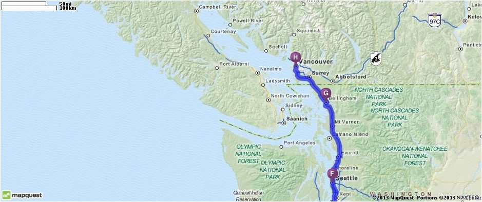 Map Of Seattle Washington to Vancouver Canada California to ...