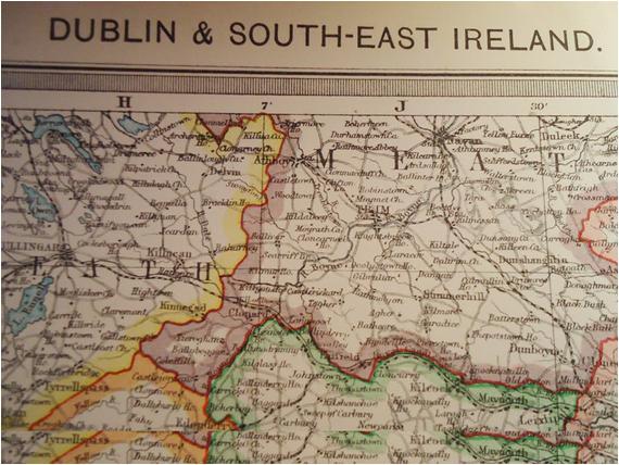 dublin and south east ireland map coloured 1909