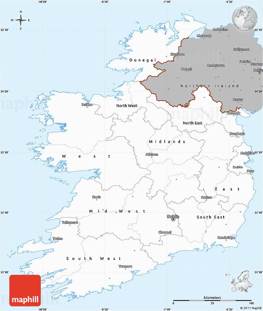 gray simple map of ireland