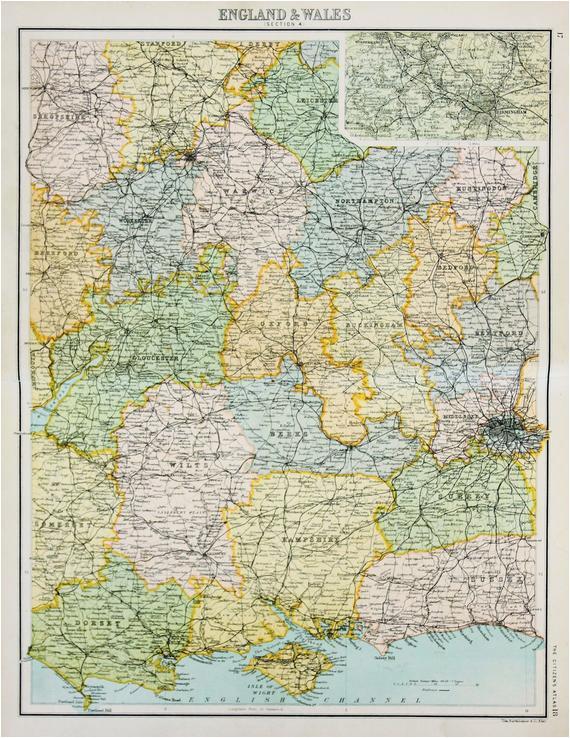 original antique map central southern england inc railway lines