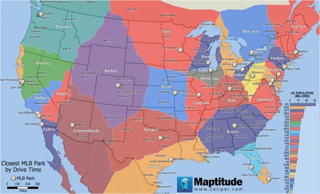 Map Of southeastern Canada Map Of the Usa and southern Canada by Closest Mlb Stadium Measured