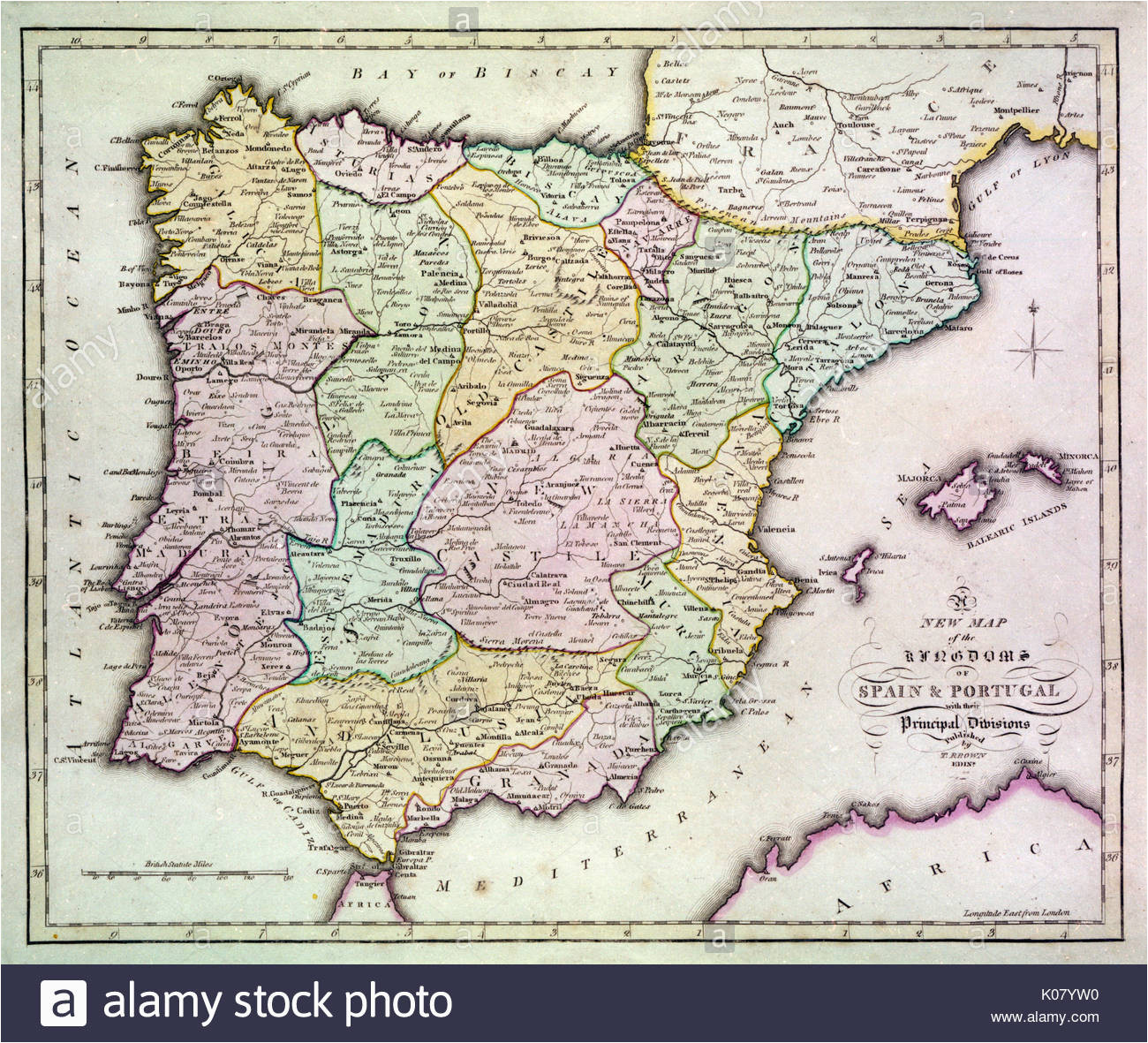 map of spain stock photos map of spain stock images alamy