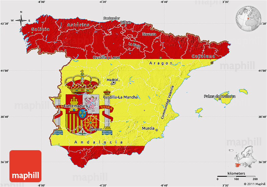 flag map of spain