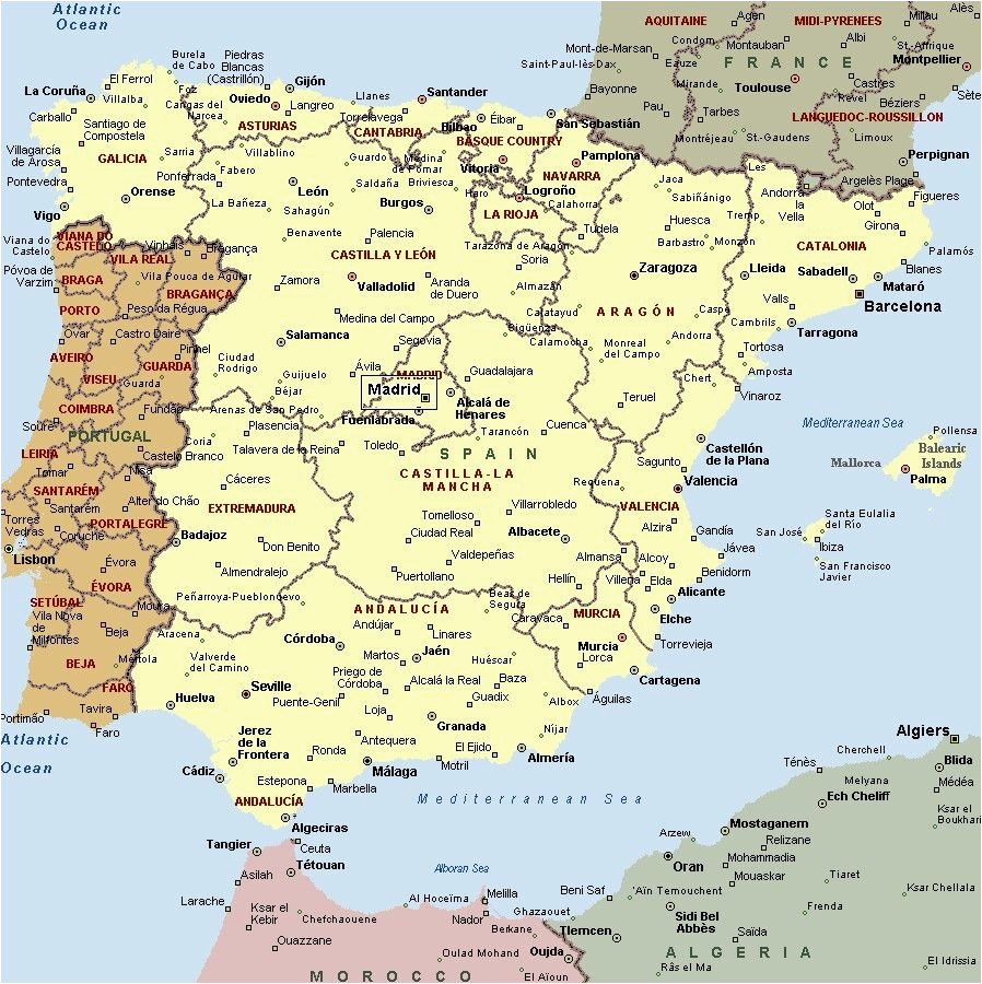 Map Of Spain and Surrounding Countries Mapa Espaa A Fera Alog In 2019 Map Of Spain Map Spain Travel