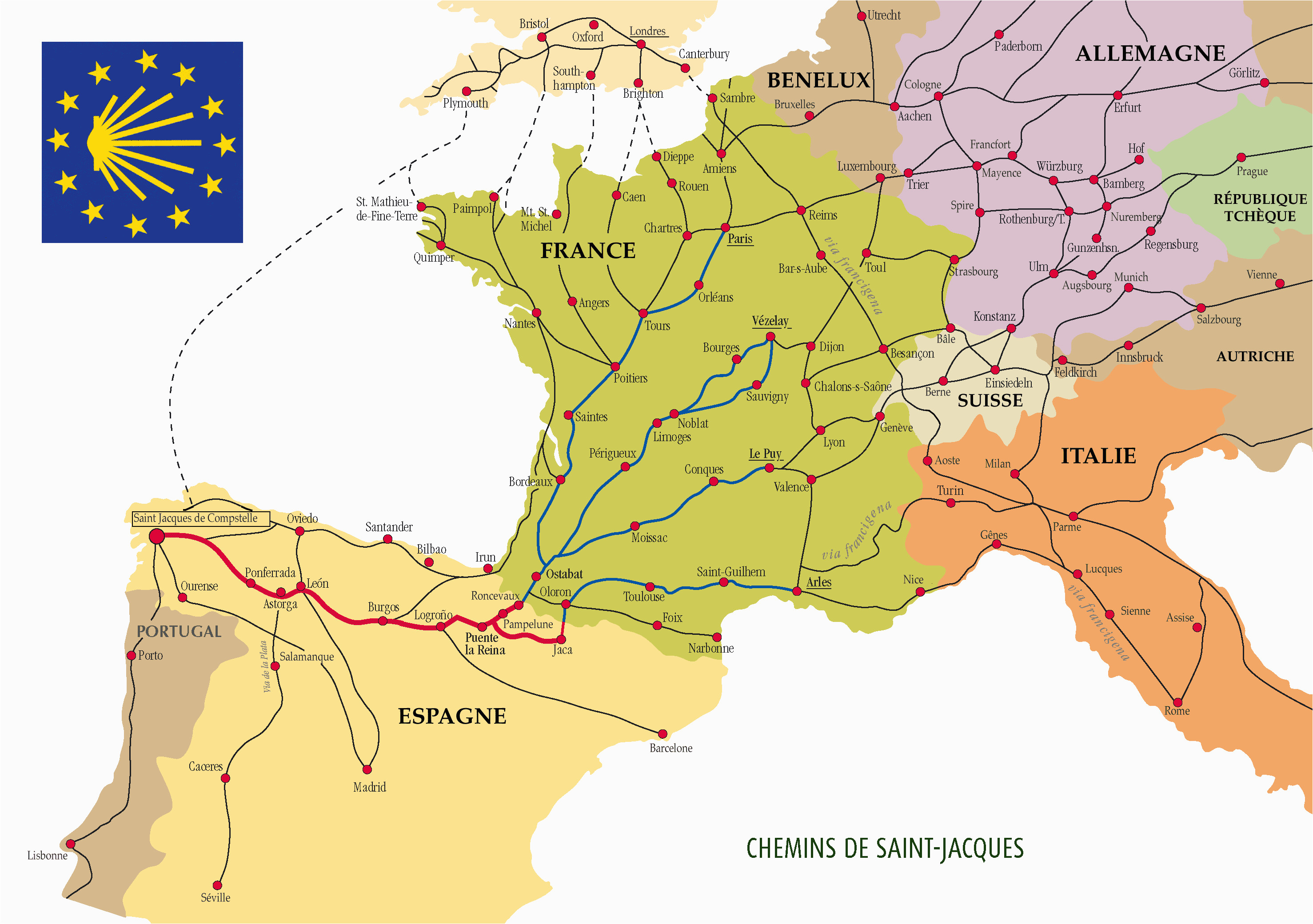 the many routes of the camino de santiago
