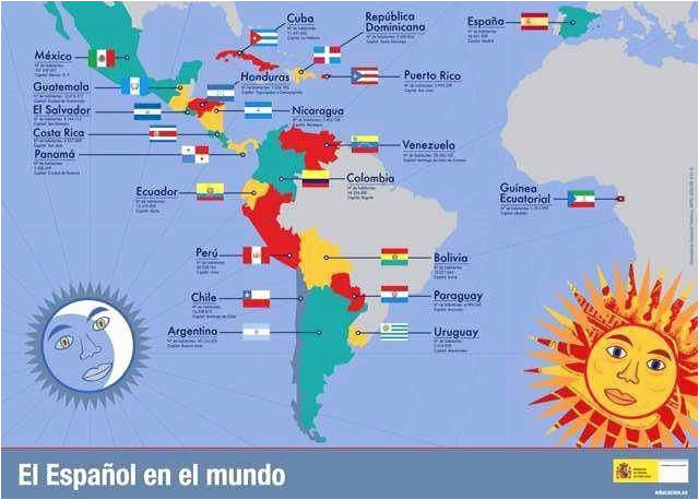 Map Of Spain In English south America Map Spanish Speaking ...