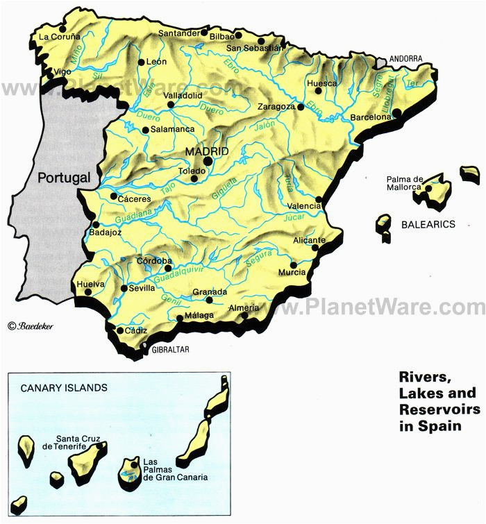rivers lakes and resevoirs in spain map 2013 general reference