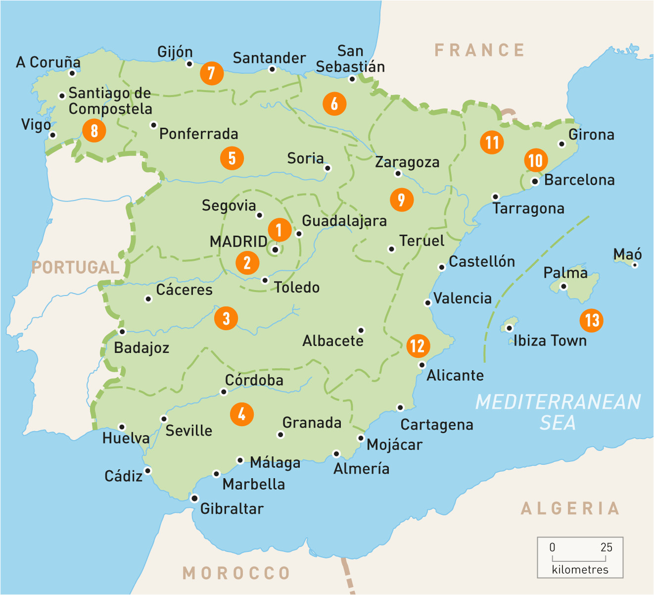 map of spain spain regions rough guides