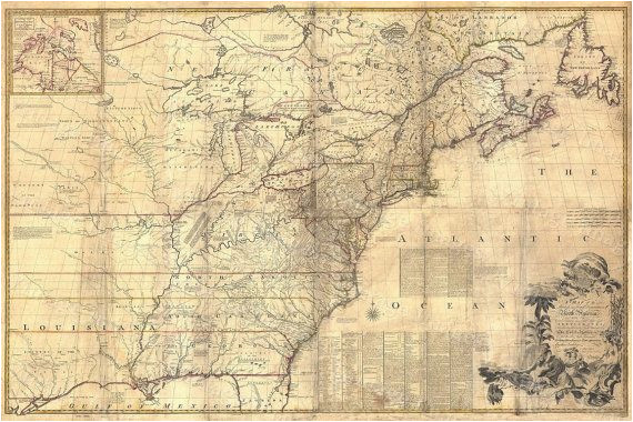 1757 colonial map map of british colonies north america