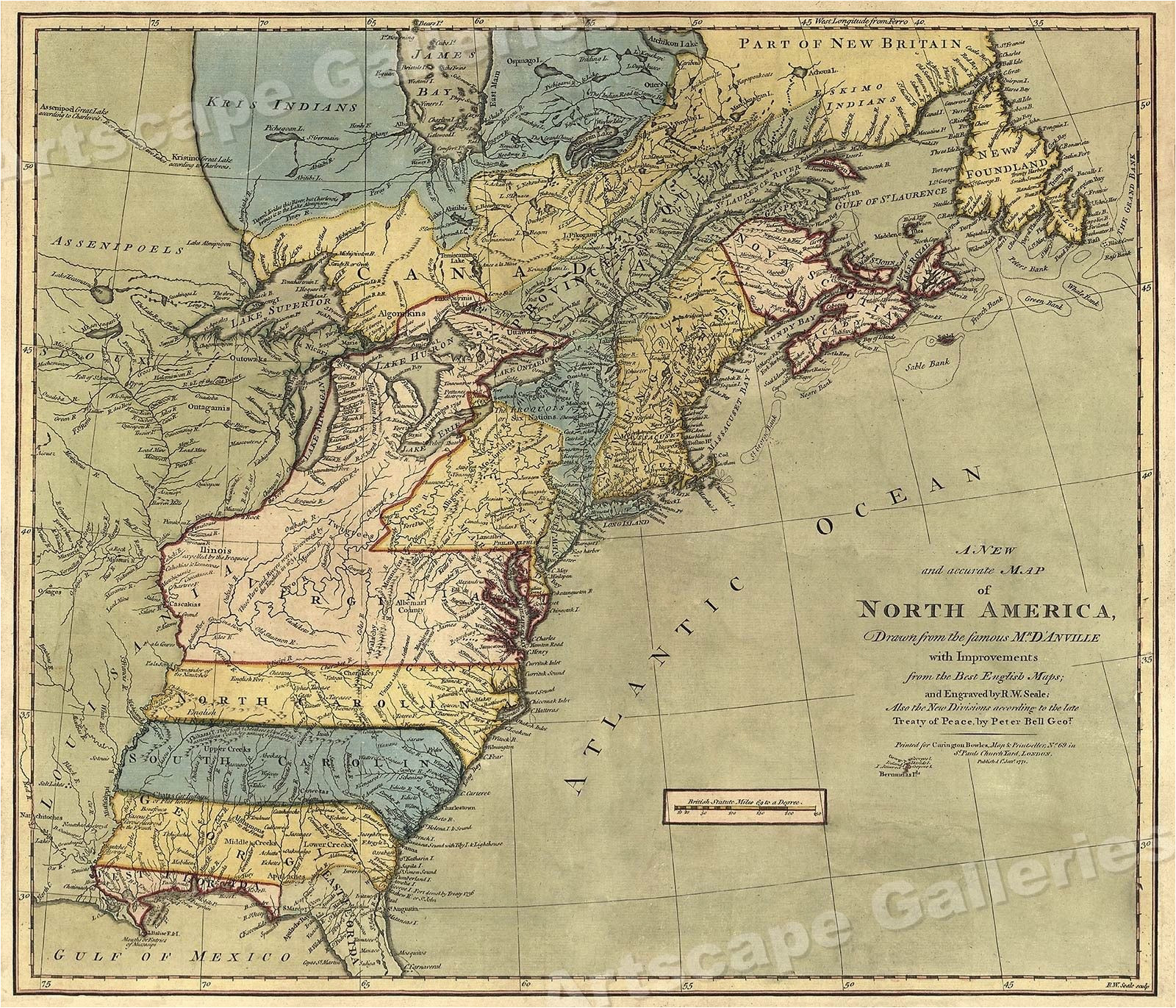 map of north america 1771 early american colonies 16x20