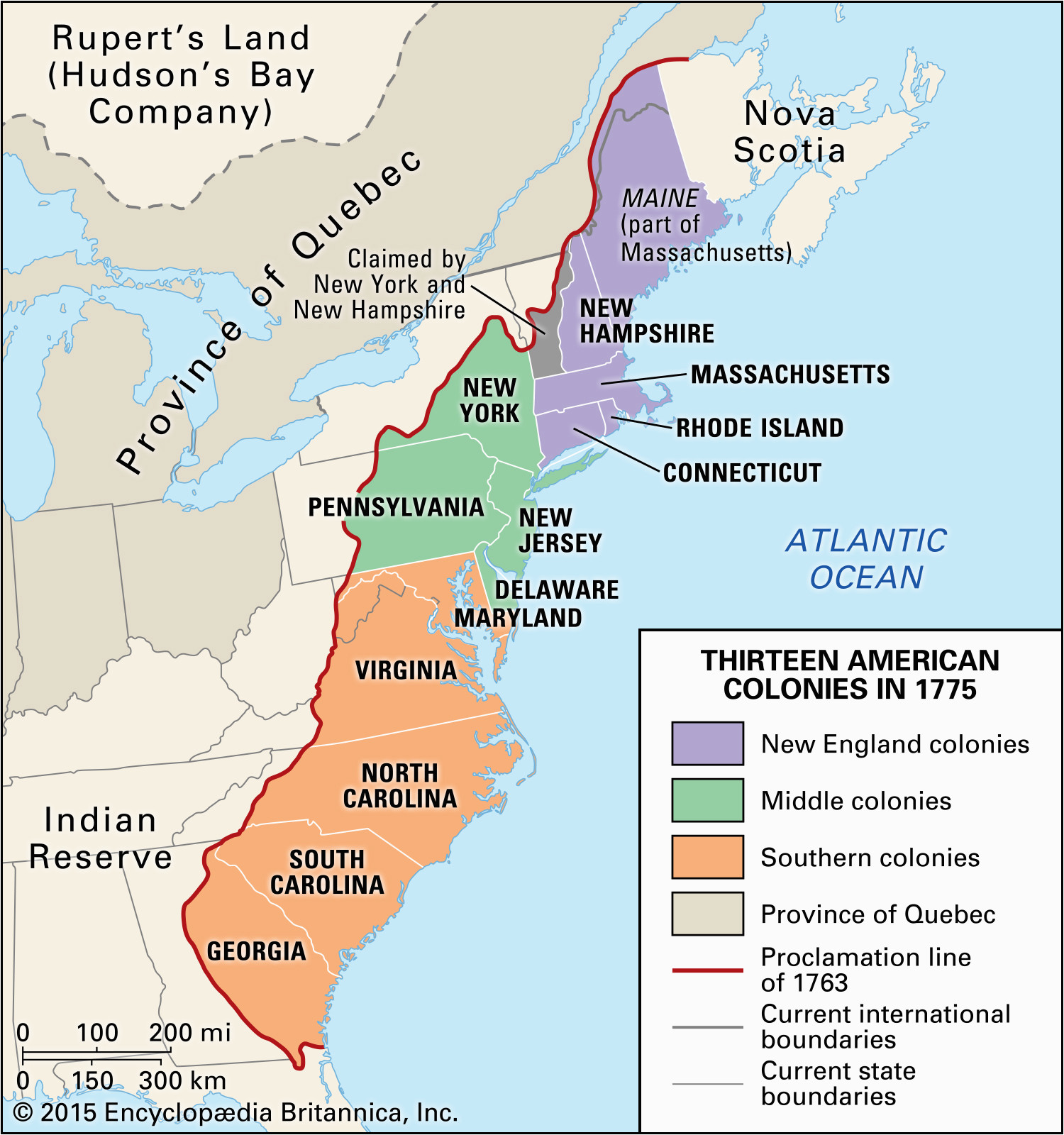 Map Of the New England Middle and southern Colonies ...