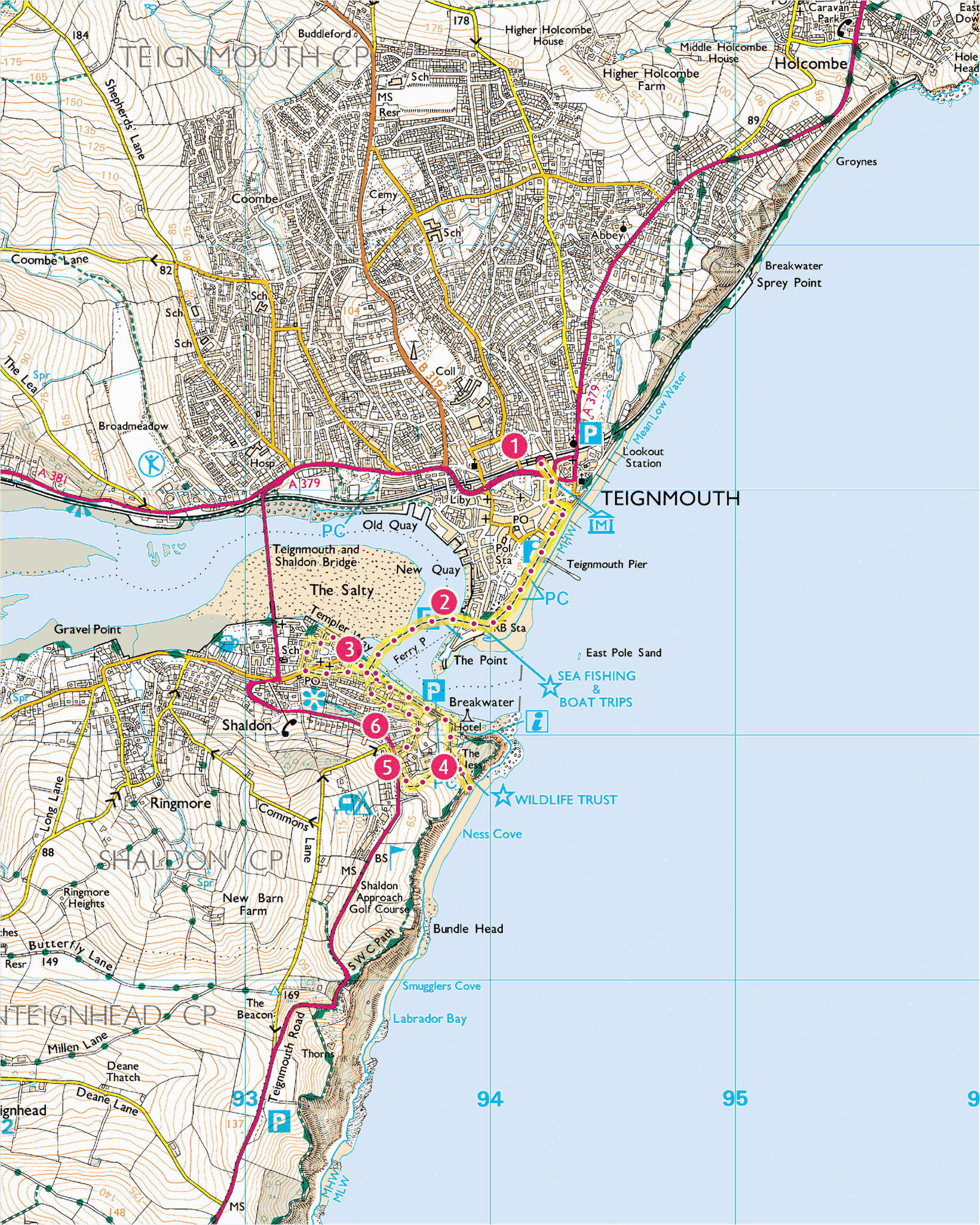 explore shaldon from teignmouth print walk south west coast path