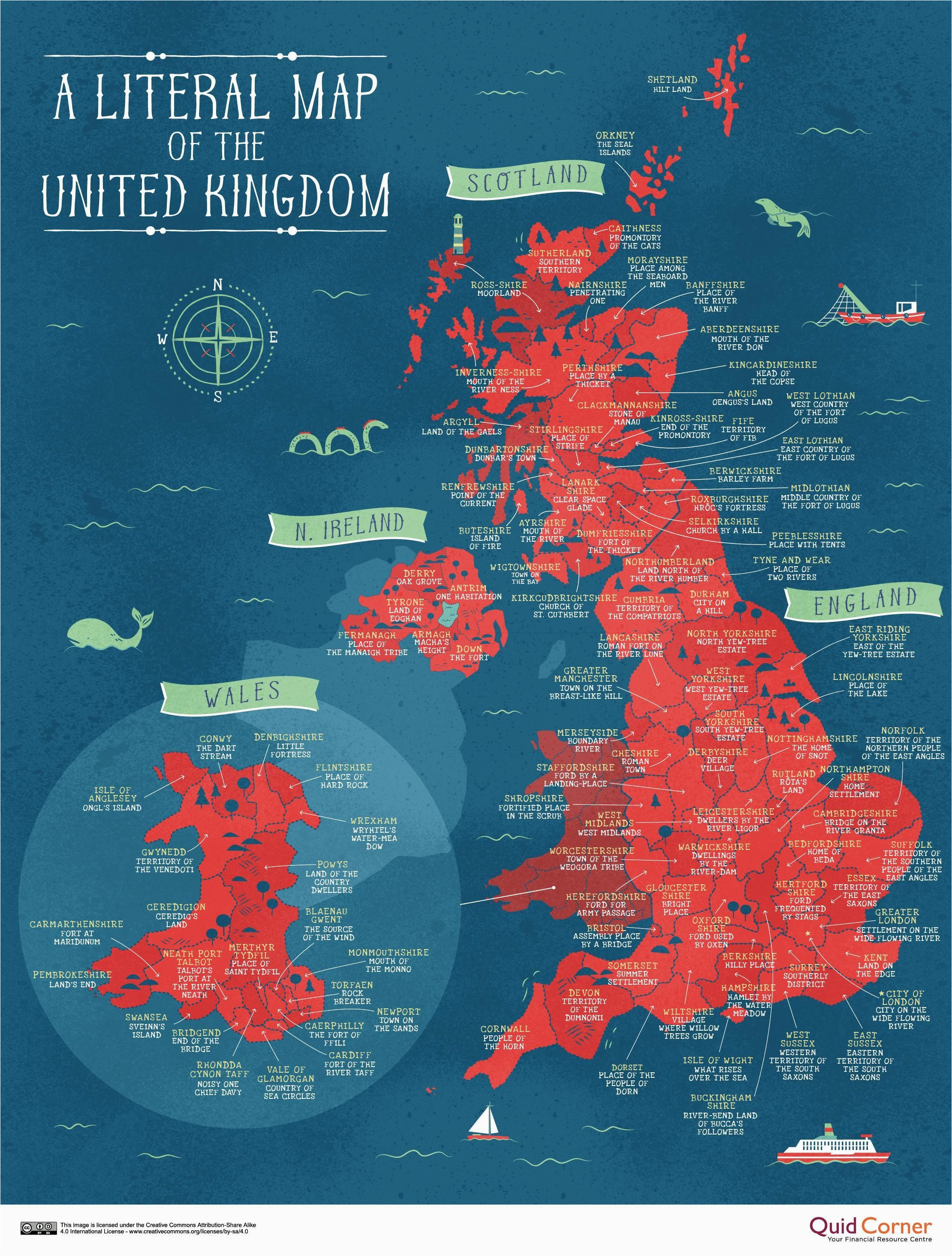 a literal map of the uk welsh things map of britain map