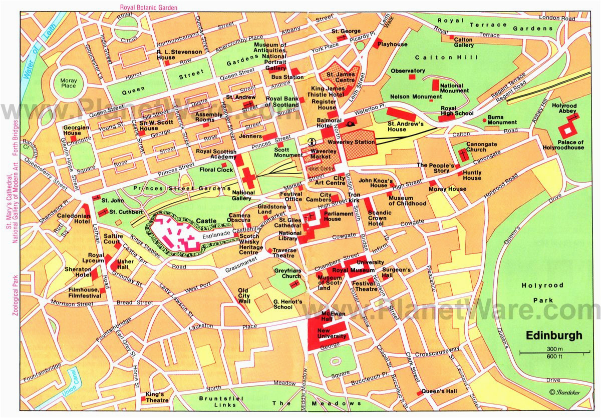 map of edinburgh attractions planetware printable travel