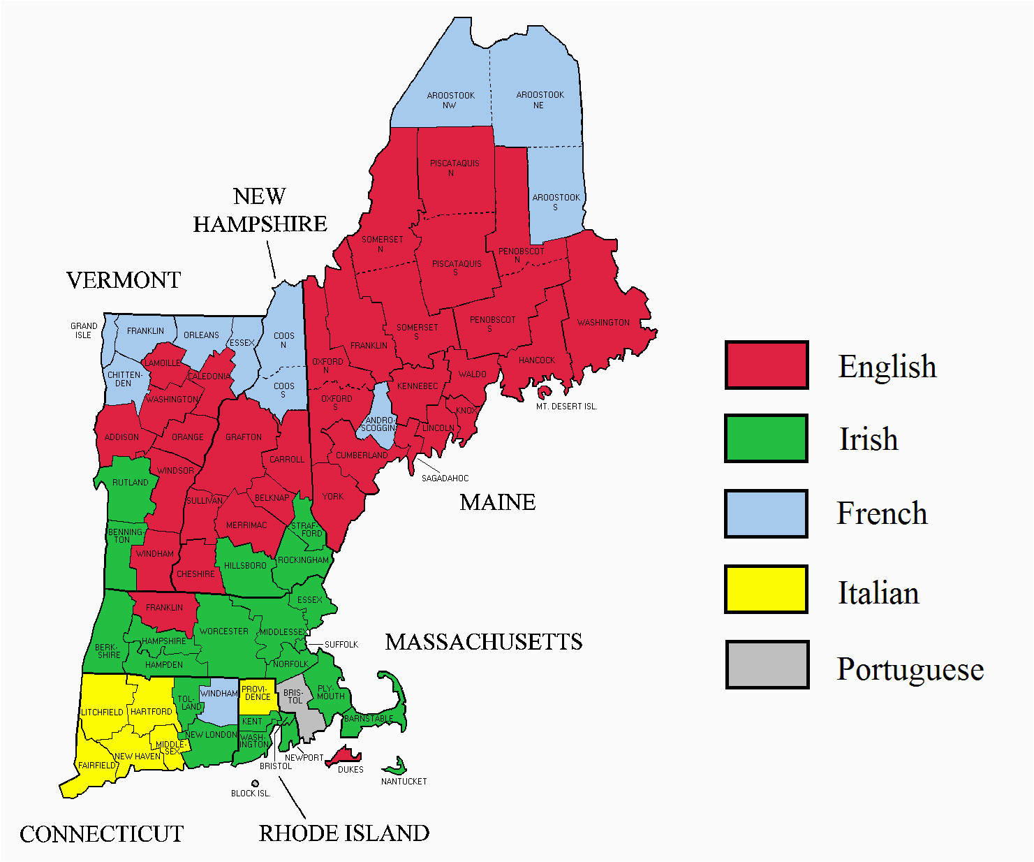 new england ancestry by county 2000 united states