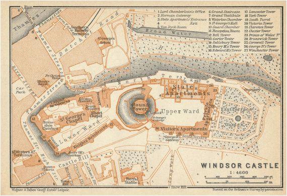 Map Of Windsor England 1930 Antique Map Of Windsor Castle England United Kingdom