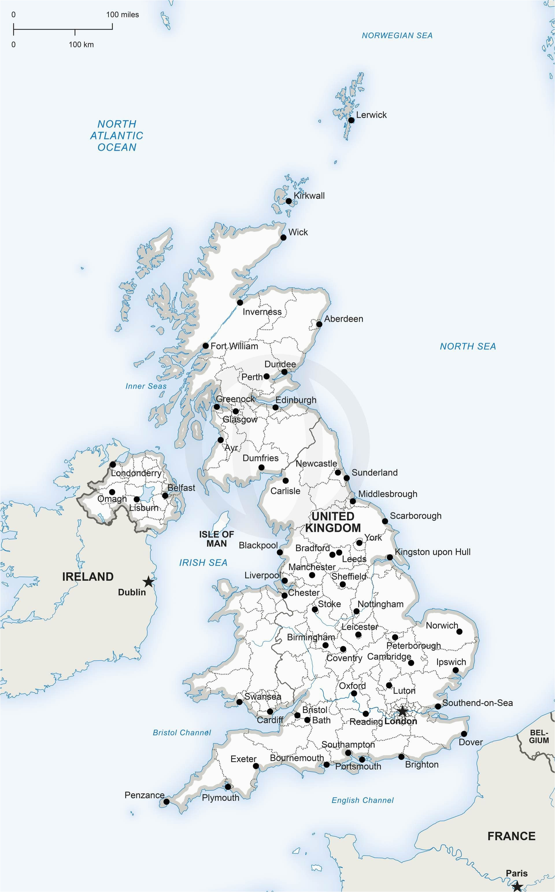 map of united kingdom political digital vector maps map