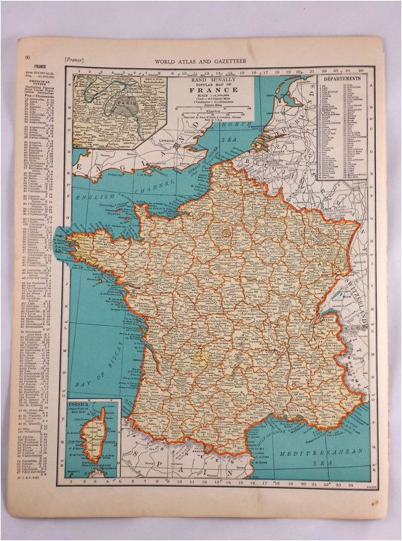 1937 map of france antique map of france 81 yr old