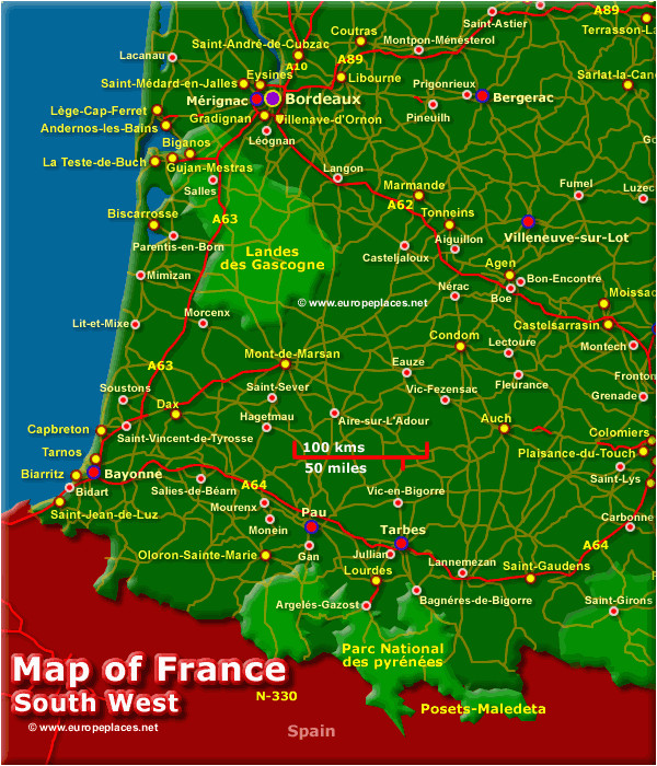 south west france map