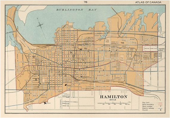 hamilton map ontario giclee print reproduction of a vintage