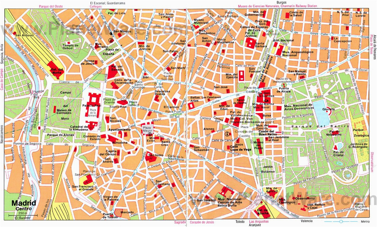 map of madrid attractions planetware s p a i n in 2019 madrid