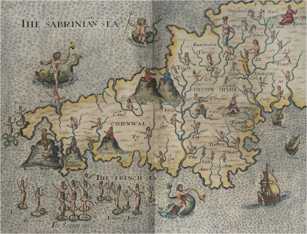 hand drawn map of cornwall and devonshire from the 1600 s