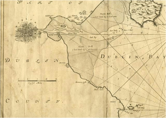 map of dublin bay from portmarnock to dunleary captain g collins