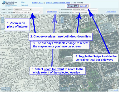 side by side georeferenced maps viewer map images national