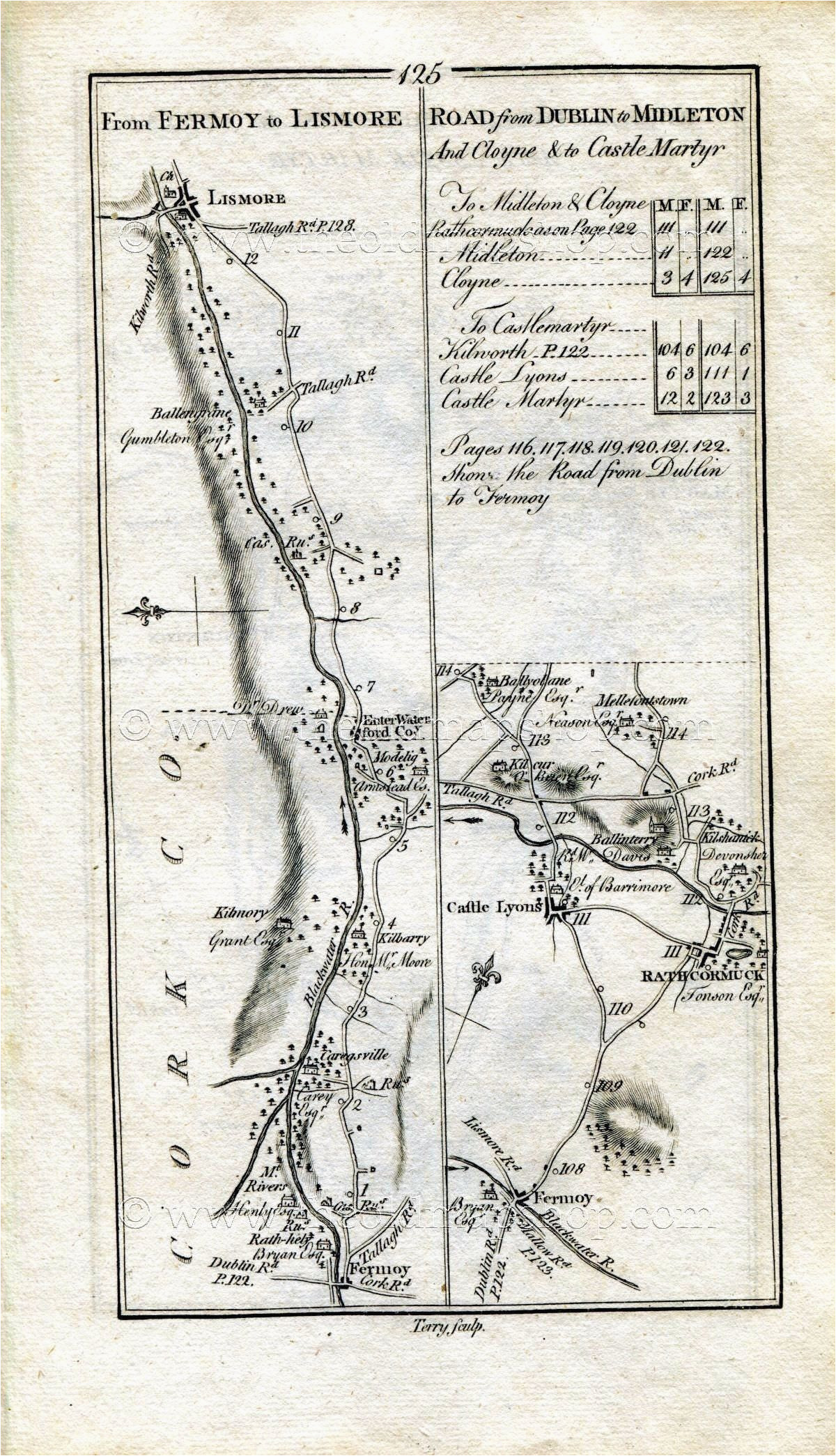 1778 taylor skinner antique ireland road map 125 126