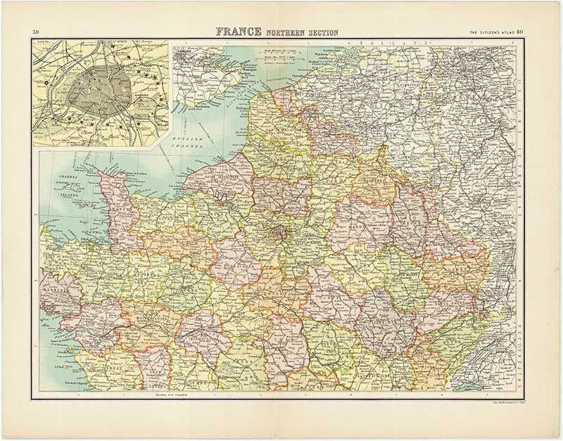 old map of northern france maps kort
