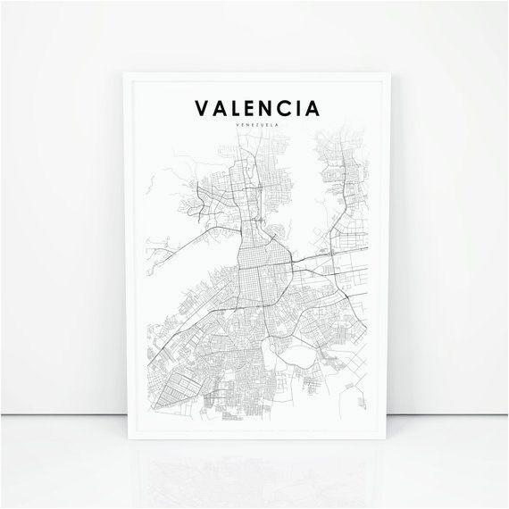 valencia map print venezuela map art poster vala ncia city road