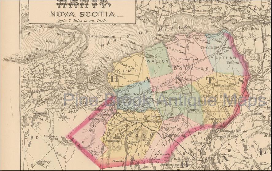 map showing communities within hants county nova scotia