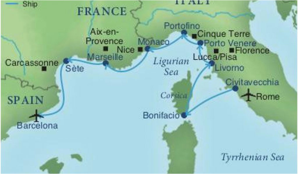 map of spain france and italy cruising the rivieras of italy
