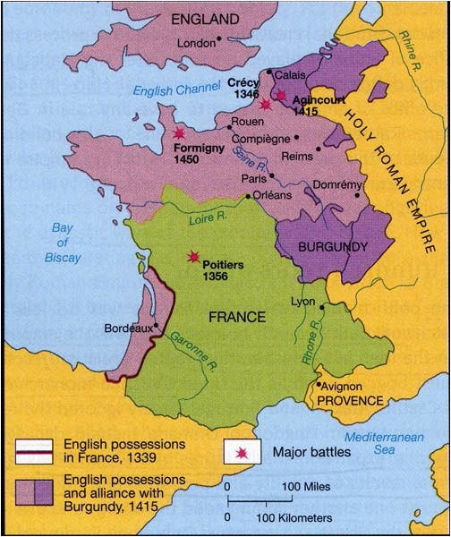 Medieval Map Of France 100 Years War Map History Britain Plantagenet 1154