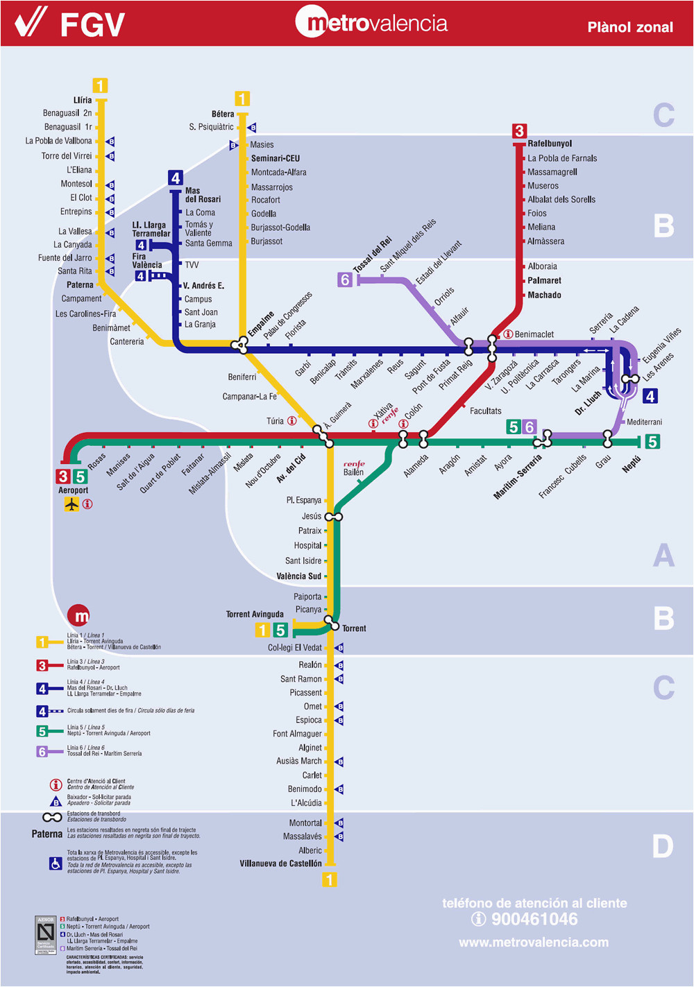 valencia metro map map of the underground system in
