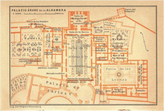 1906 the alhambra floor plan moorish islamic architecture granada