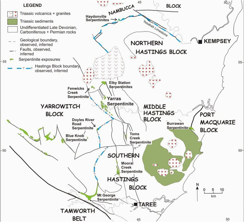simplified map of the serpentinite outcrops in the hastings